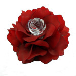 Brooch, Flower Rose, Dark Red