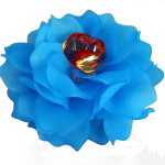 Brooch, Flower Rose, Blue