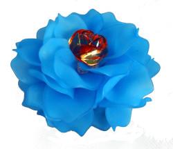 Brooch, Flower Rose, Blue