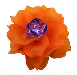 Brooch, Flower Rose, Orange